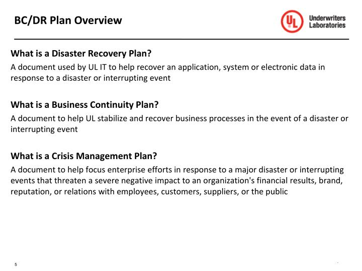 BC/DR Plan Overview