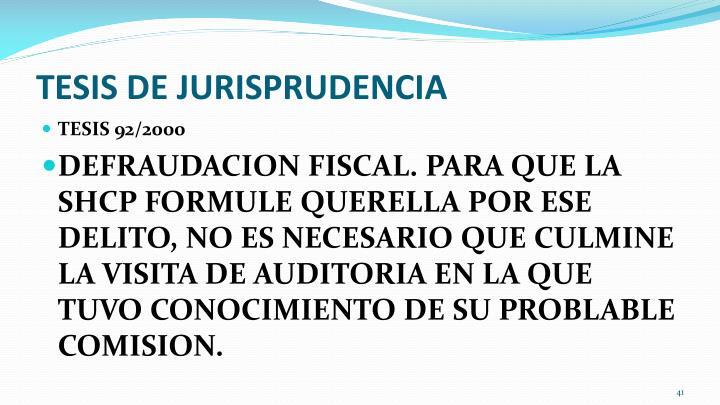 TESIS DE JURISPRUDENCIA