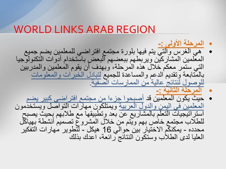 WORLD LINKS ARAB REGION