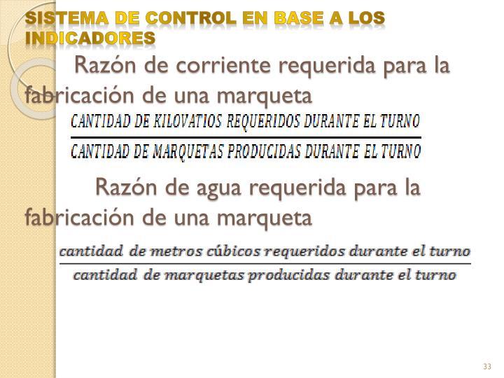 SISTEMA DE CONTROL EN BASE A LOS INDICADORES