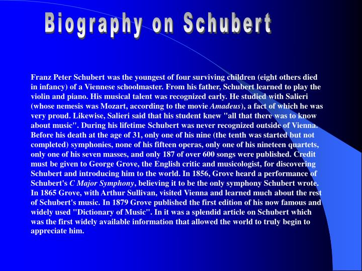 Biography on Schubert