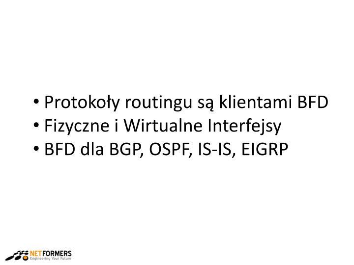Protokoły routingu są klientami BFD