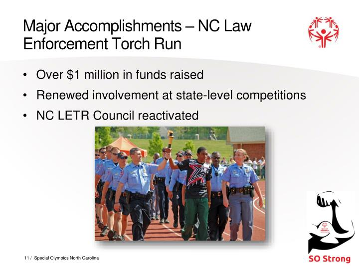 Major Accomplishments – NC Law Enforcement Torch Run