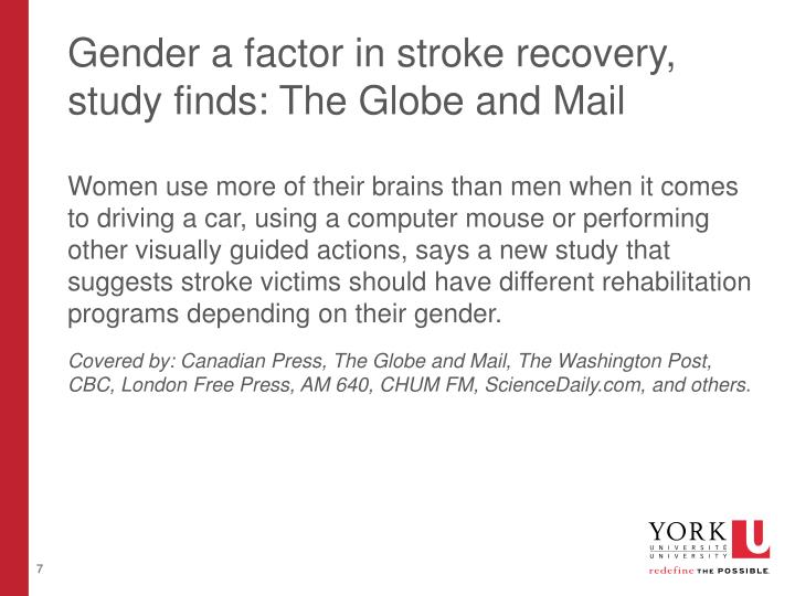 Gender a factor in stroke recovery, study finds: The Globe and Mail