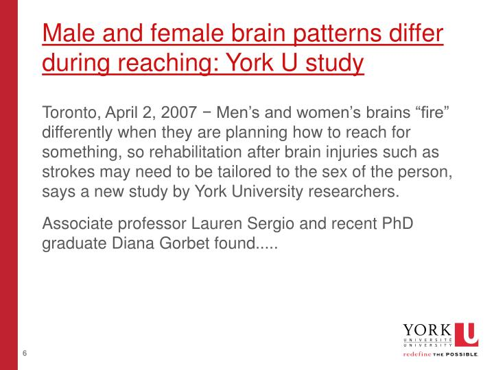 Male and female brain patterns differ during reaching: York U study
