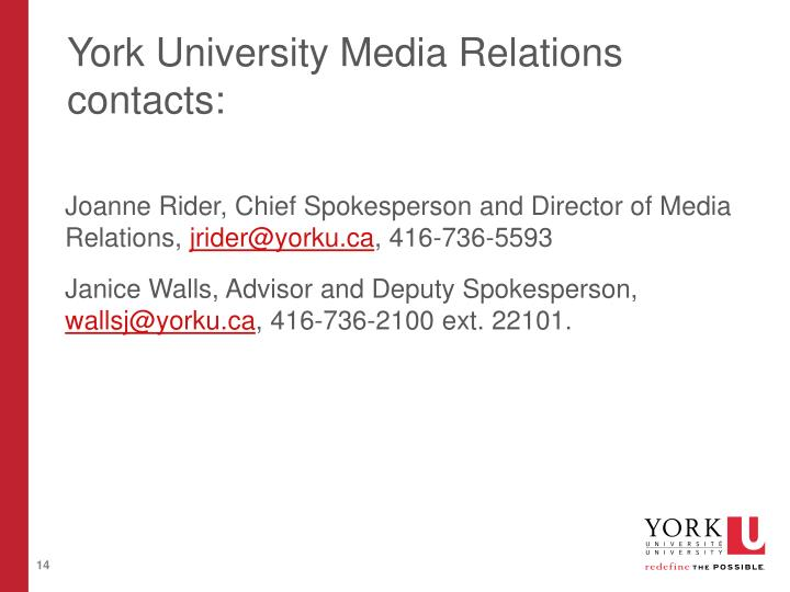 York University Media Relations contacts: