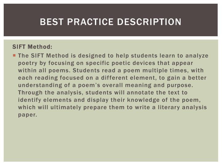Best Practice description