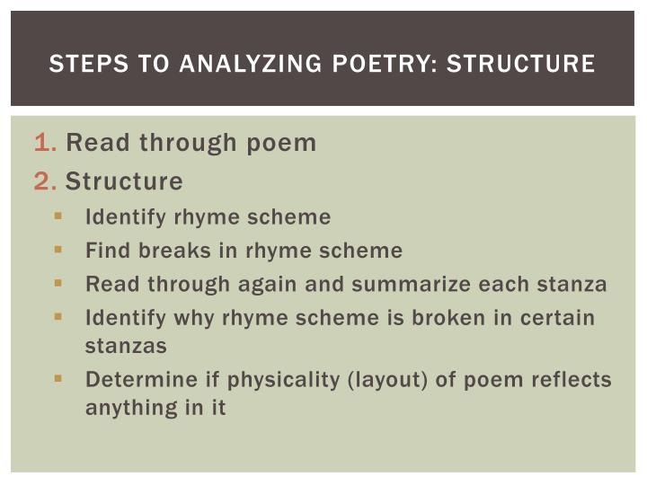 Steps to Analyzing Poetry: Structure