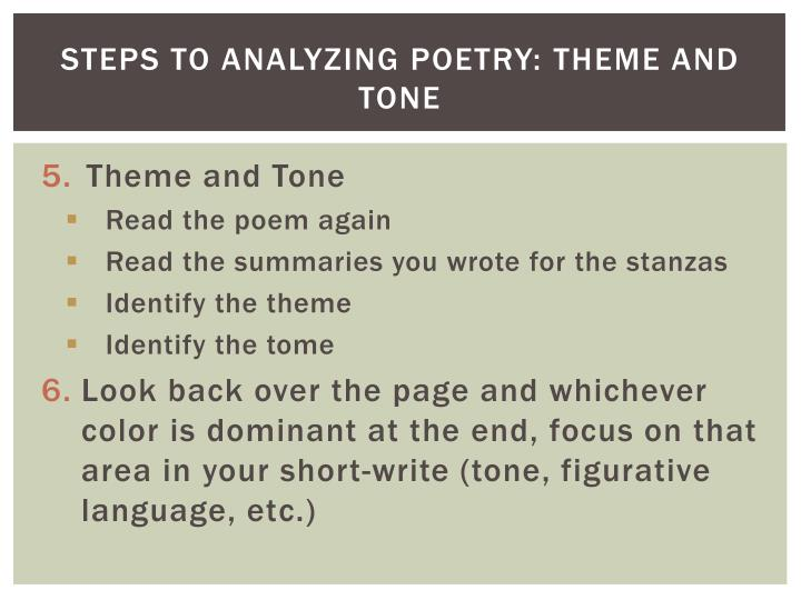 Steps to Analyzing Poetry: