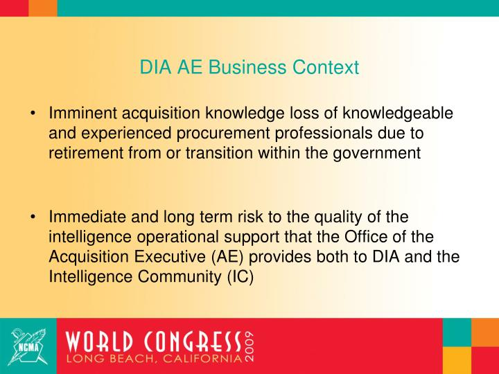 DIA AE Business Context