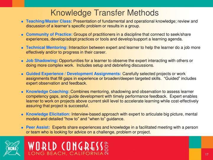 Knowledge Transfer Methods