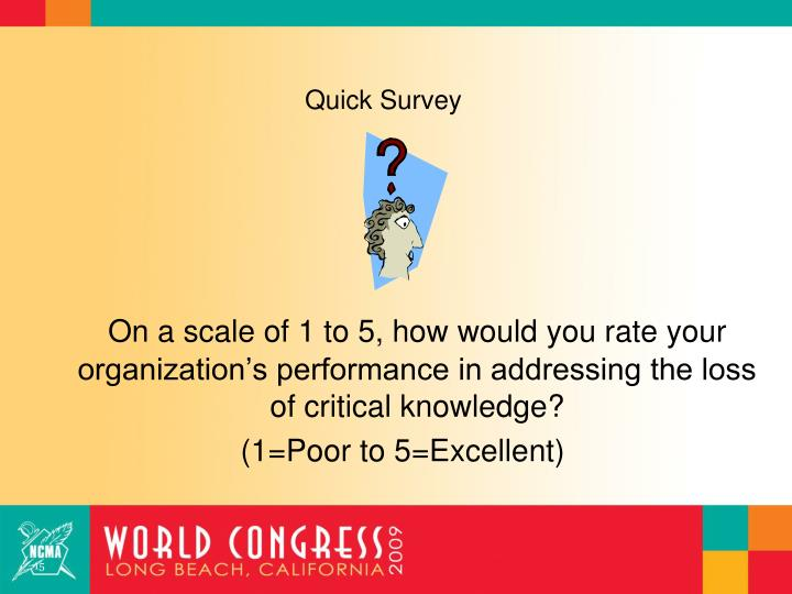 On a scale of 1 to 5, how would you rate your organization's performance in addressing the loss of critical knowledge?