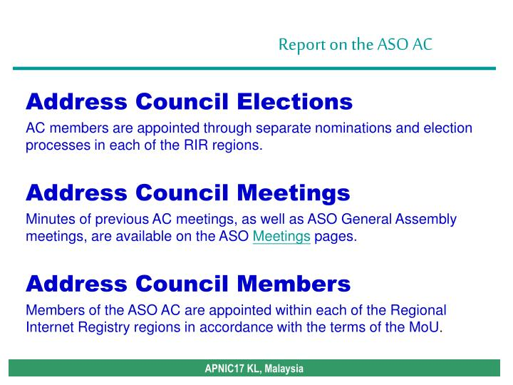 Address Council Elections
