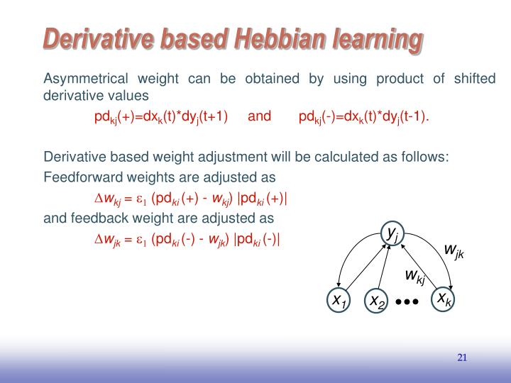 Asymmetrical weight can be obtained by using product of shifted derivative values