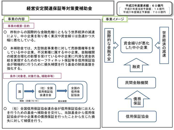 経営安定関連保証等対策費補助金
