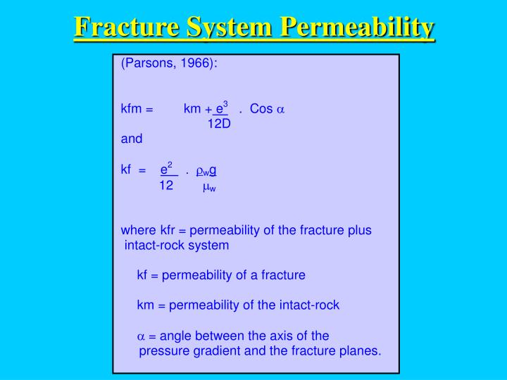 Fracture System Permeability