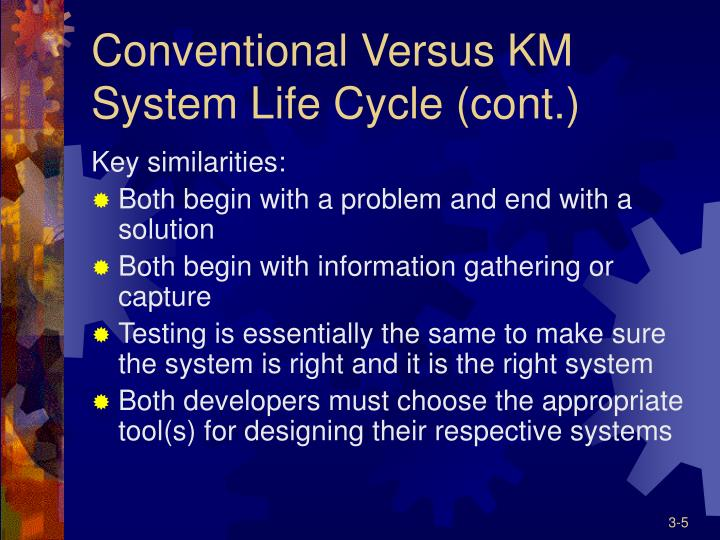 Conventional Versus KM System Life Cycle (cont.)