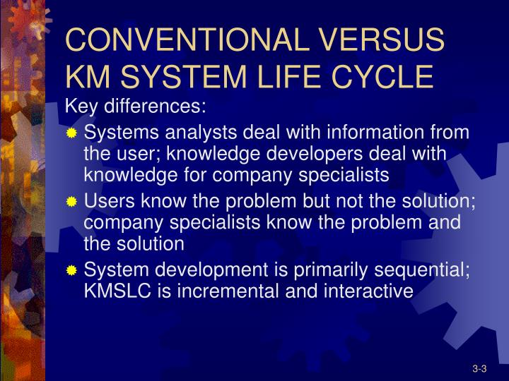 Conventional versus km system life cycle