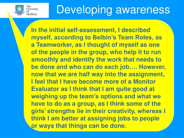 In the initial self-assessment, I described myself, according to Belbin's Team Roles, as a Teamworker, as I thought of myself as one of the people in the group, who help it to run smoothly and identify the work that needs to be done and who can do each job…. However, now that we are half way into the assignment, I feel that I have become more of a Monitor Evaluator as I think that I am quite good at weighing up the team's options and what we have to do as a group, as I think some of the girls' strengths lie in their creativity, whereas I think I am better at assigning jobs to people or ways that things can be done.