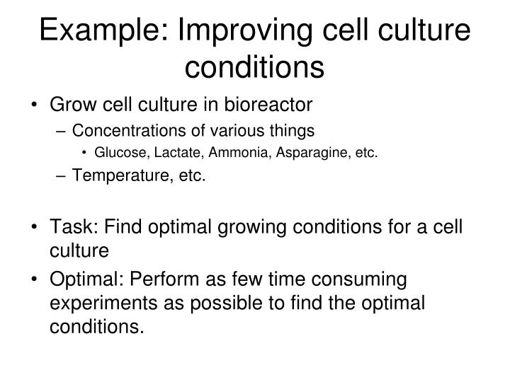 Example: Improving cell culture conditions
