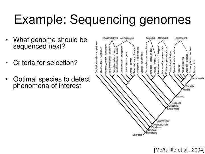 Example: Sequencing genomes