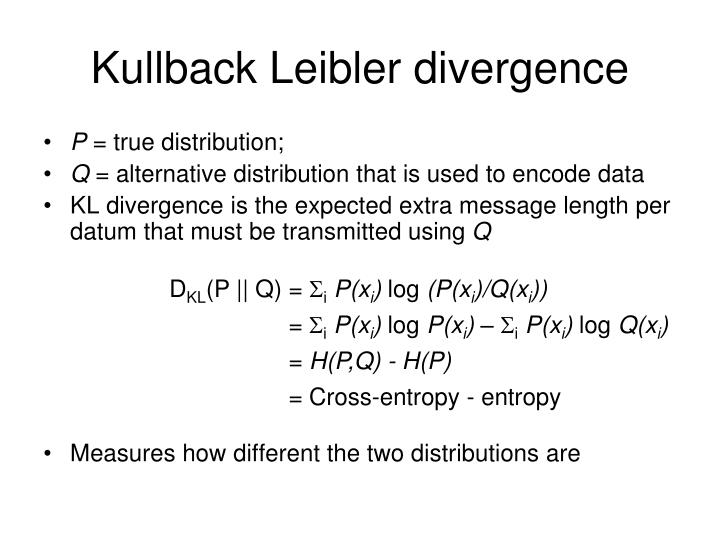 Kullback Leibler divergence