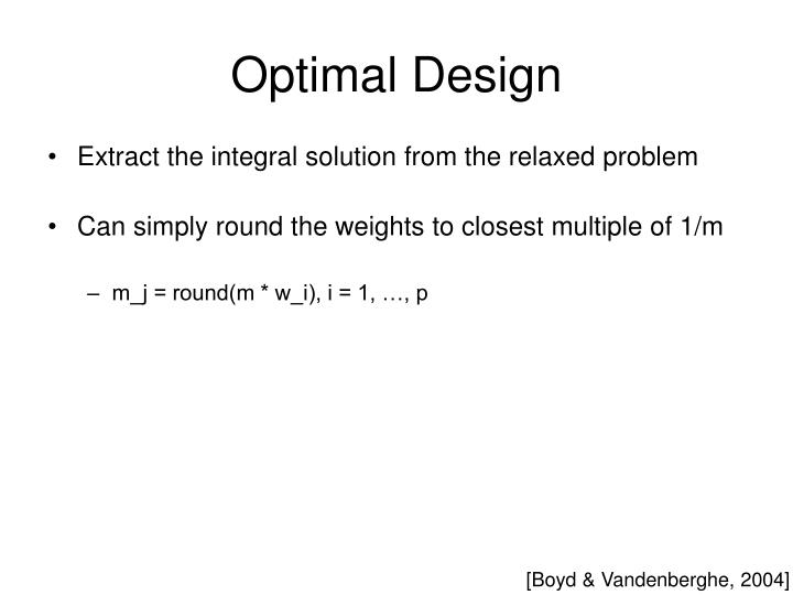 Optimal Design