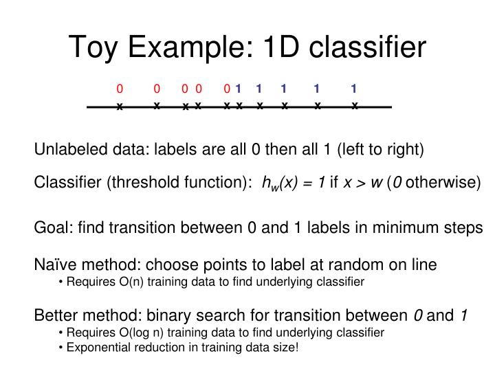 Toy example 1d classifier