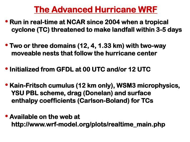 The Advanced Hurricane WRF