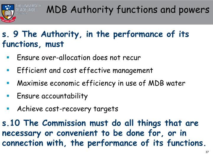 MDB Authority functions and powers