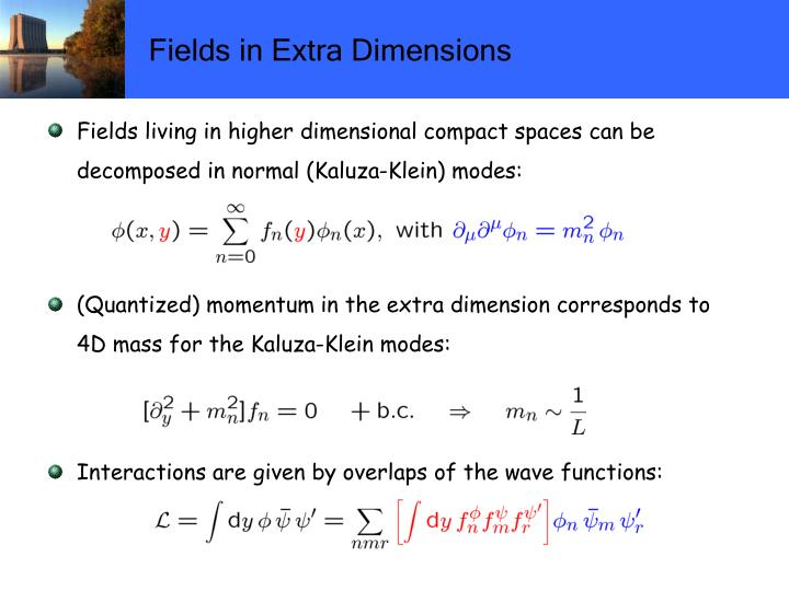 Fields in Extra Dimensions