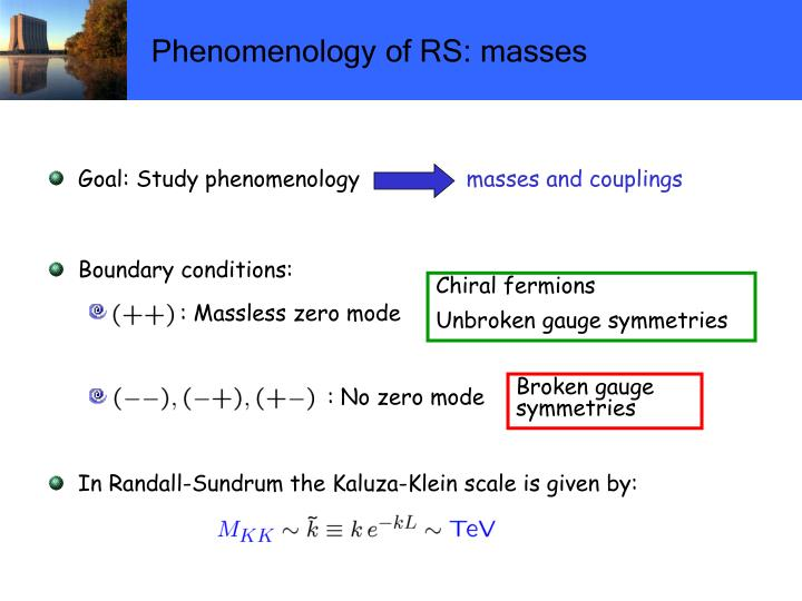Phenomenology of RS: masses