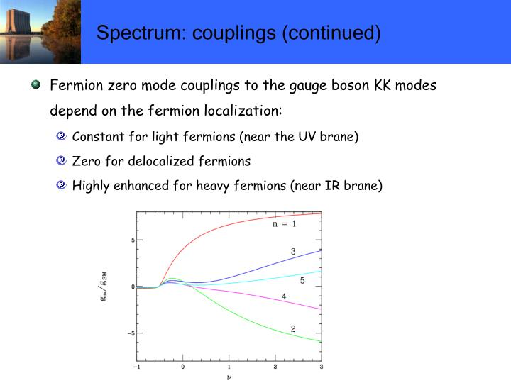 Spectrum: couplings (continued)