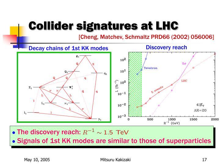 Collider signatures at LHC