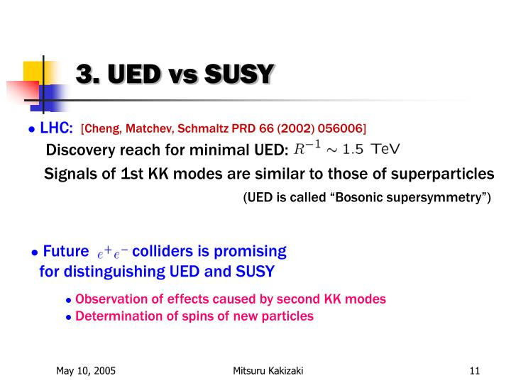 3. UED vs SUSY