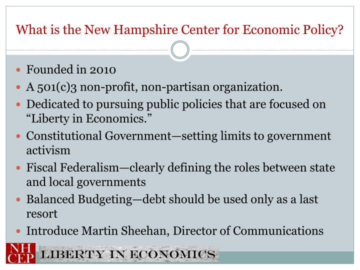 What is the New Hampshire Center for Economic Policy?