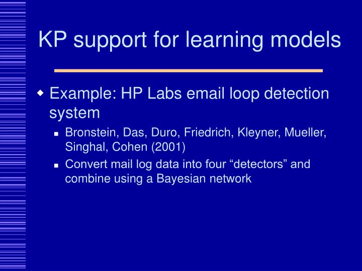 KP support for learning models