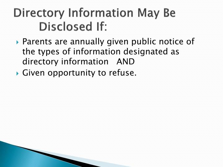 Directory Information May Be