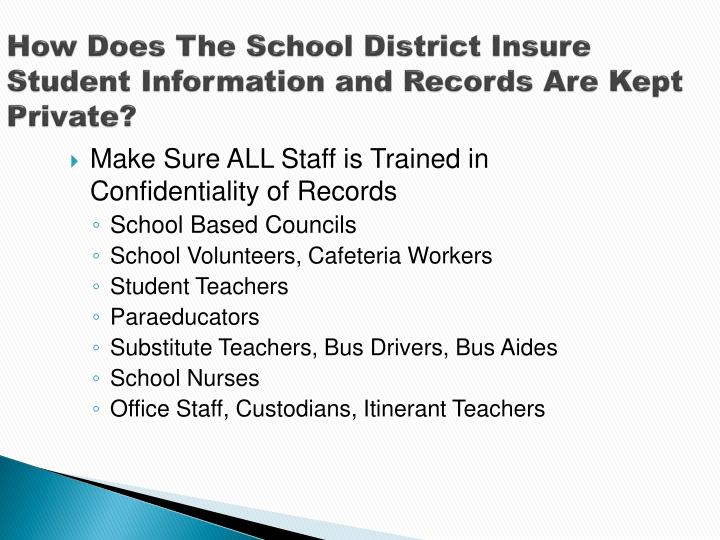 How Does The School District Insure Student Information and Records Are Kept Private?