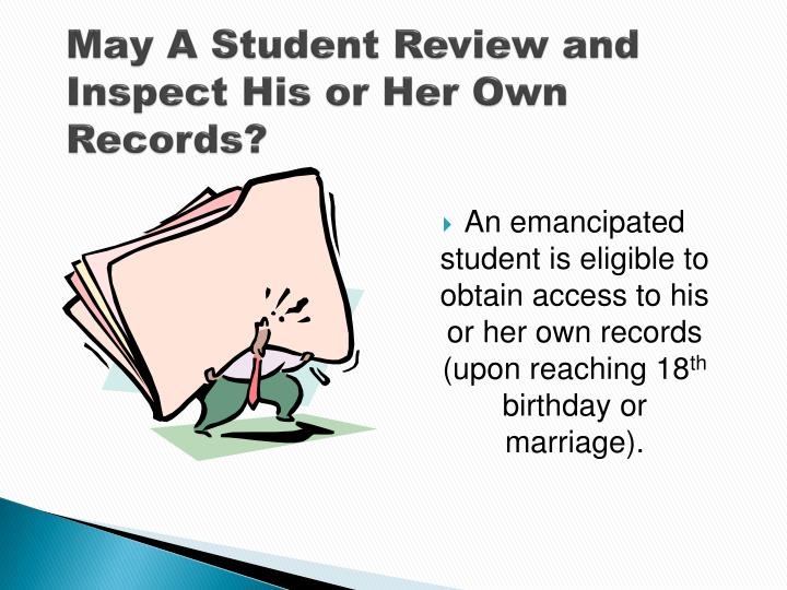 May A Student Review and Inspect His or Her Own Records?
