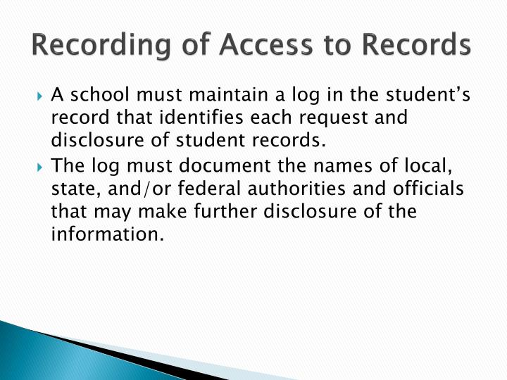 Recording of Access to Records
