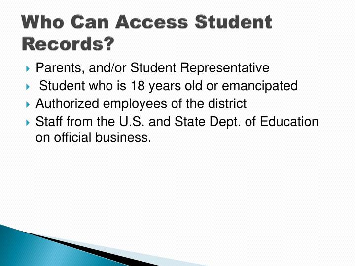 Who Can Access Student Records?