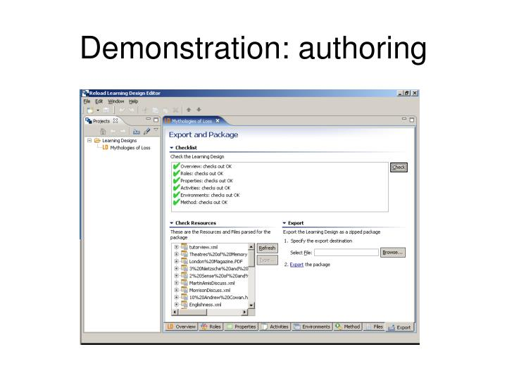 Demonstration: authoring