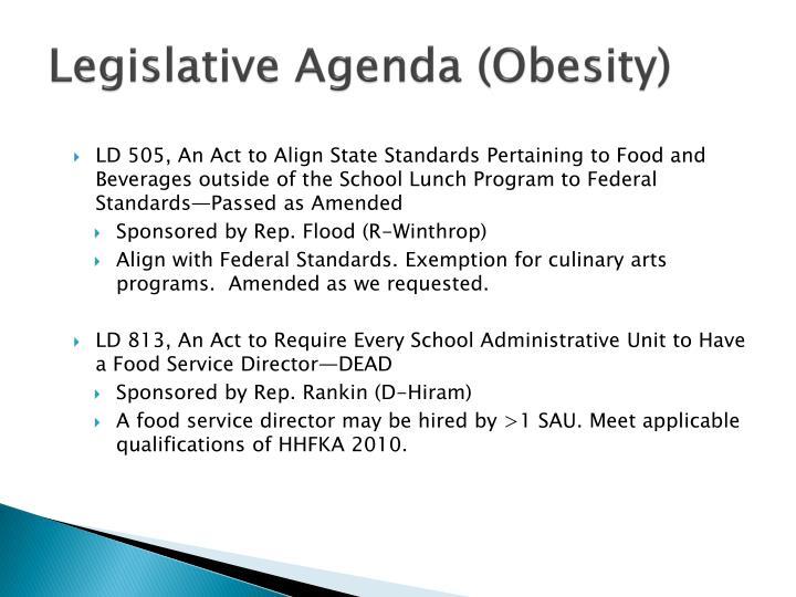 Legislative Agenda (Obesity)