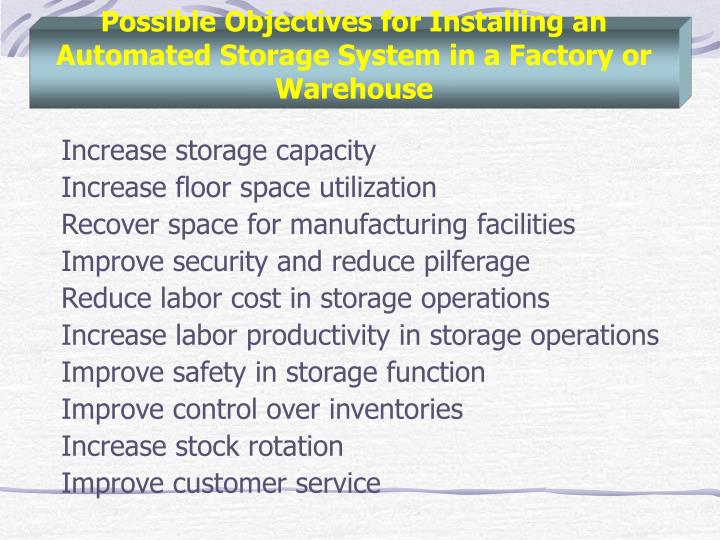 Possible Objectives for Installing an Automated Storage System in a Factory or Warehouse