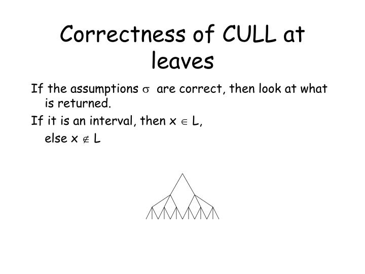 Correctness of CULL at leaves