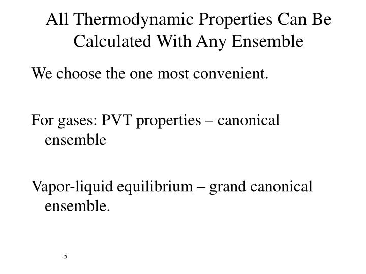 All Thermodynamic Properties Can Be Calculated With Any Ensemble