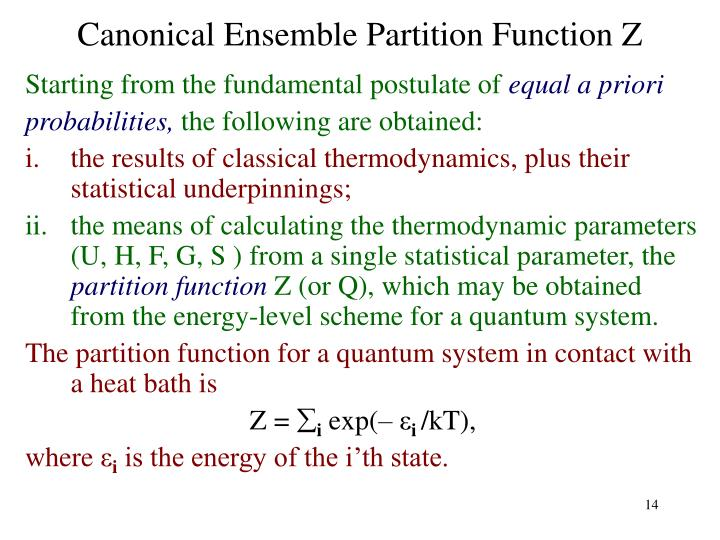 Canonical Ensemble Partition Function Z