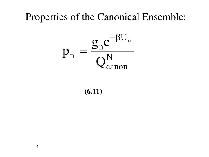 Properties of the Canonical Ensemble: