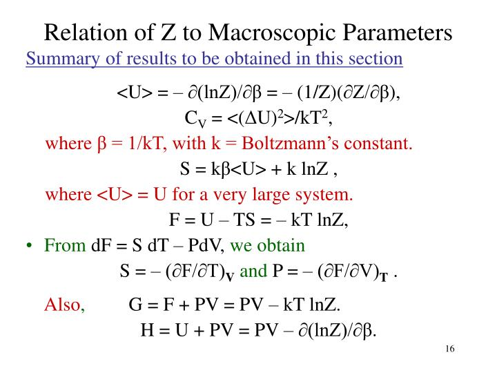 Relation of Z to Macroscopic Parameters